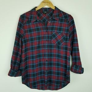 Paige | Red plaid long sleeve button down shirt